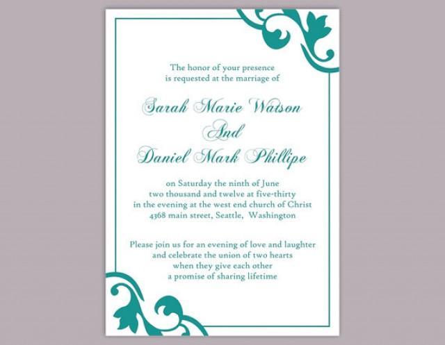 Teal Invitations Wedding: DIY Wedding Invitation Template Editable Word File Instant