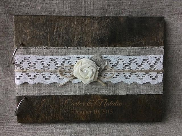 wedding photo - Wooden guestbook, Rustic Burlap Lace Gues tbook, Laser engraved Wood Guest Book, Custom Guest Book
