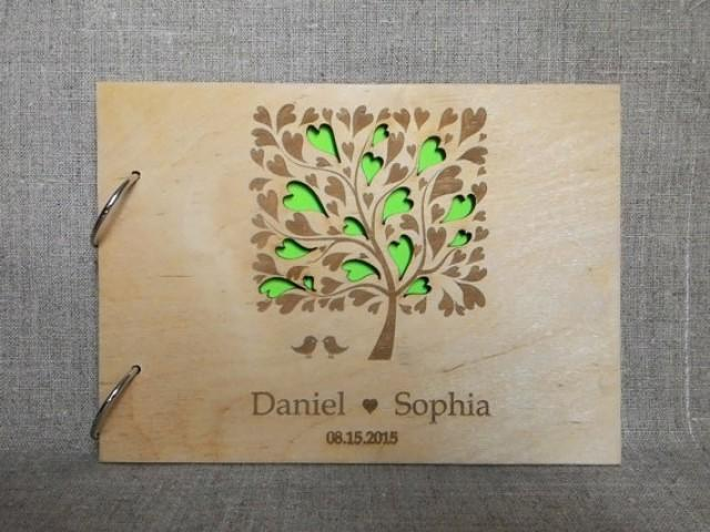 wedding photo - Custom wedding guestbook, Wooden Wedding Guest Book, Custom Wood Laser Engraved wood, Rustic guest book, tree guestbook