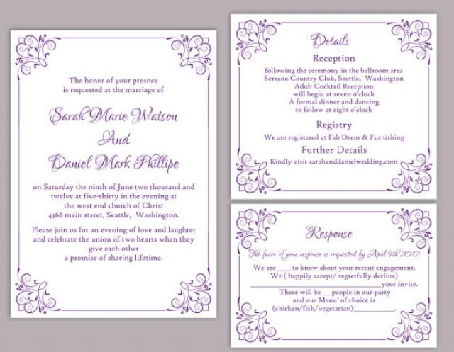 Diy wedding invitation template set editable word file for Editable wedding invitation templates free download