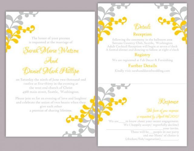 DIY Wedding Invitation Template Set Editable Word File Instant Download Print