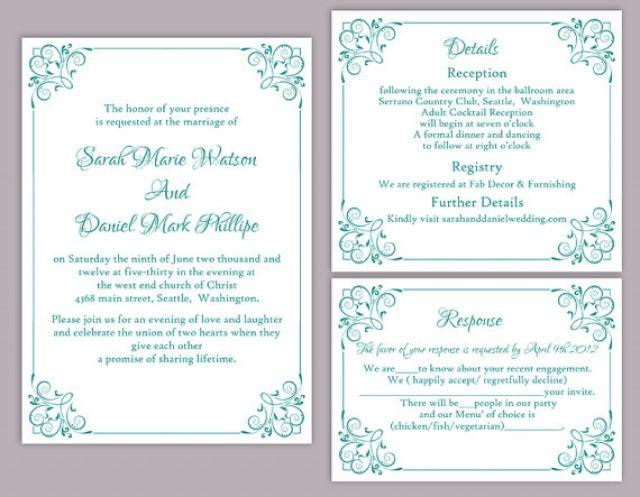 Wedding Invitations Turquoise: DIY Wedding Invitation Template Set Editable Word File