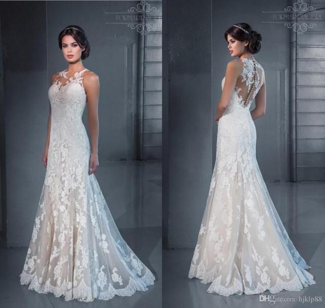 2015 new slim sexy sheer illusion jewel neckline backless for Backless wedding dresses online