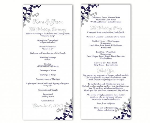 Wedding program template diy editable word file instant for Free wedding program templates