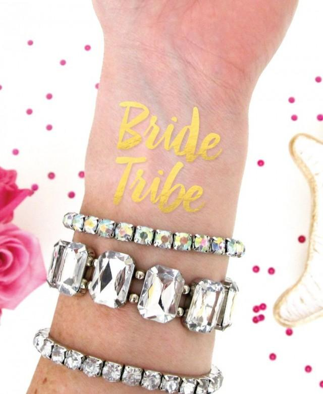 Bride tribe tattoo bachelorette party temporary for Gold foil tattoo
