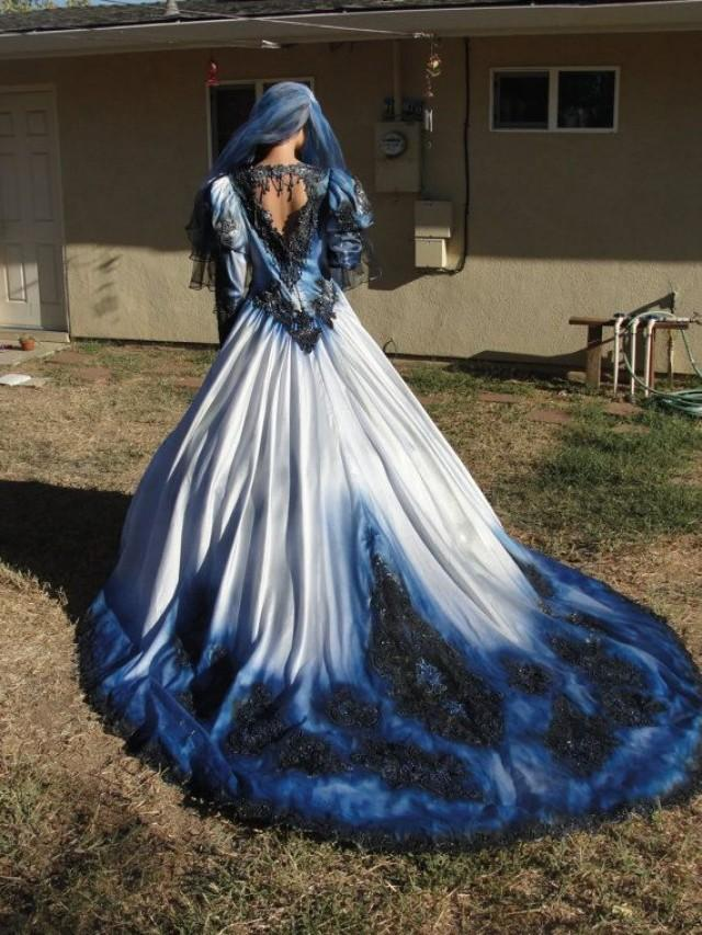 wedding photo - Blue And Black Metalic Wedding Gown With Matching Veil. Features Shimmering Metalic Fading Colors And Open Back Detail. Hanging Beads In Bac