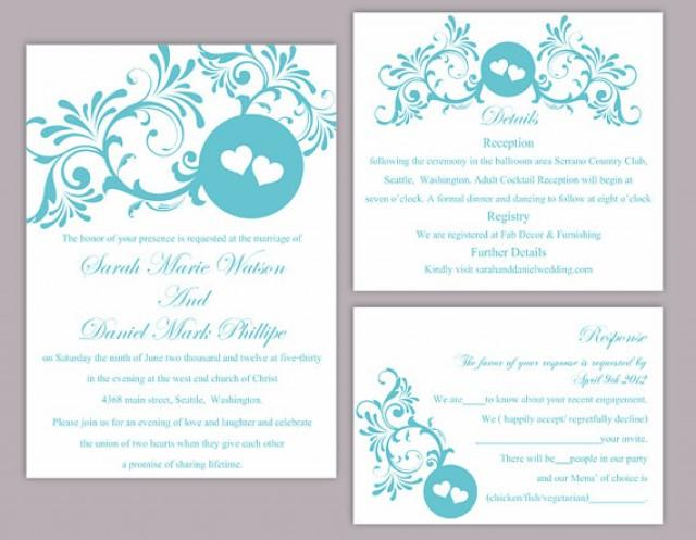 turquoise printable wedding invitations - new wedding, Wedding invitations