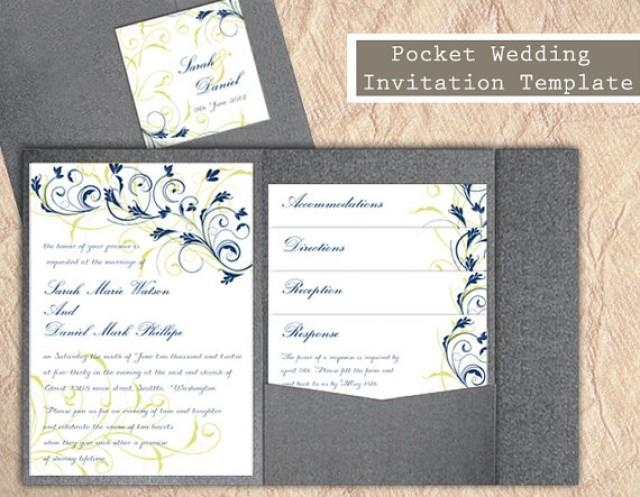 editable wedding invitation templates free download - pocket wedding invitation template set diy download