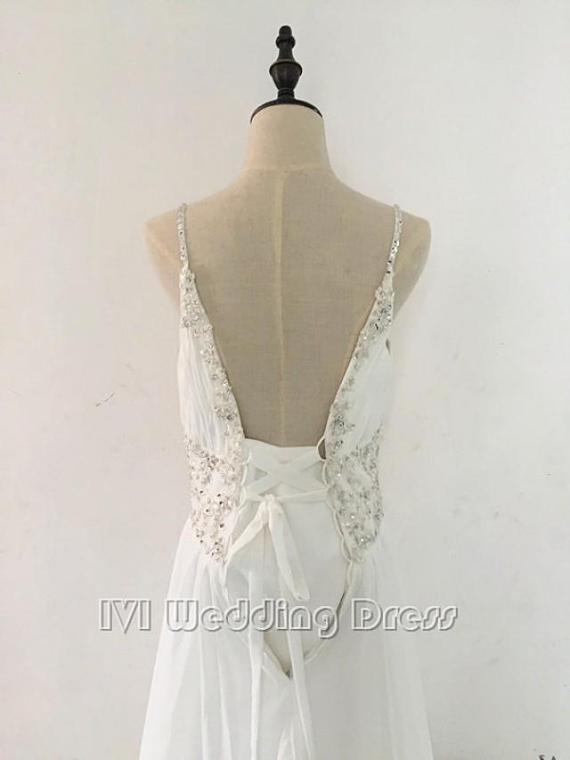 wedding photo - Real Photos Beaded Spaghetti Straps Pleated Chiffon Beach Wedding Dress with Sequins Evening Dress