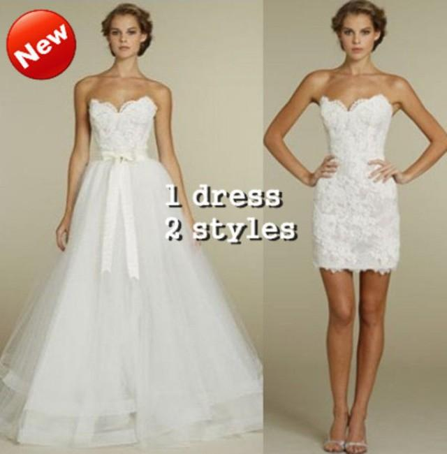 wedding photo - 2 IN 1 TULLE AND LACE WEDDING DRESS SLEEVELESS BRIDAL GOWN