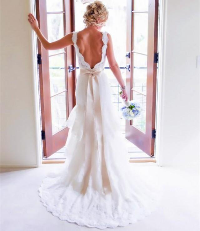 wedding photo - Sexy V-neck Court Train 3 Tiers Smooth Soft Lace Backless Boho Wedding Dresses with Ribbon Sash Bohemian Bridal Gowns Online with $146.6/Piece on Gama's Store