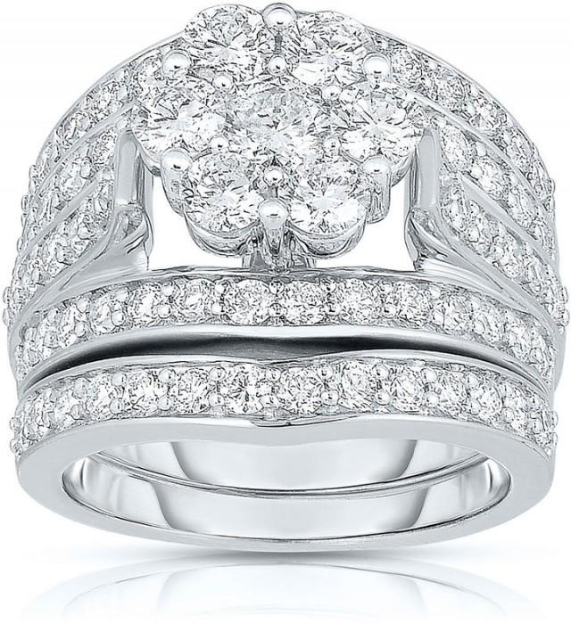 MODERN BRIDE 3 CT. T.W. Diamond 14K White Gold Bridal Ring