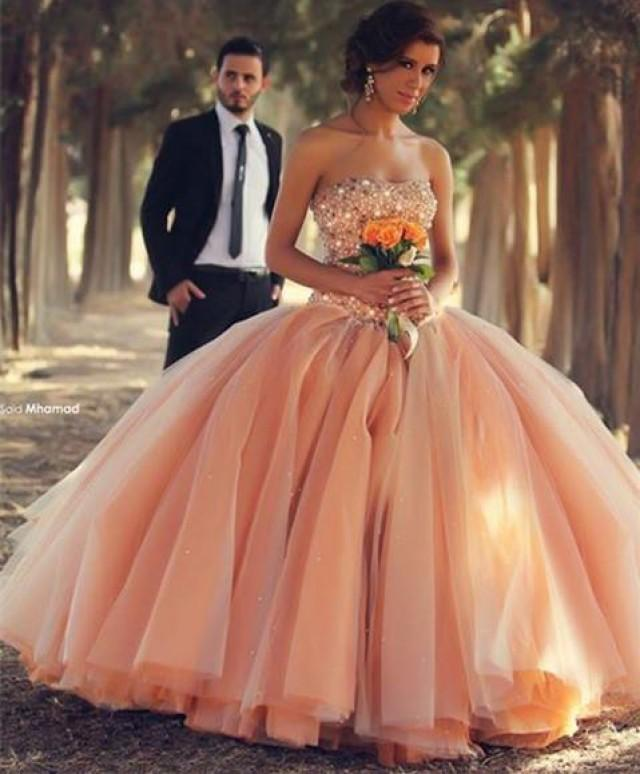 wedding photo - Champagne Floor Length Ball Gown Wedding Dresses with Beaded Corset Bodice Custom Size Made Bridal Gown Plus Size Online with $188.49/Piece on Gama's Store