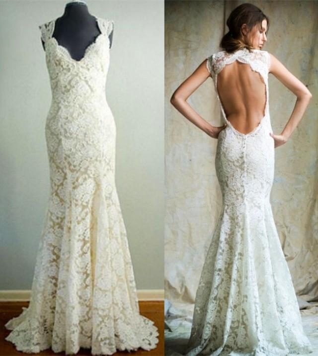 wedding photo - Lace Wedding Dress Sexy Backless Floor Length Mermaid Bridal Gown