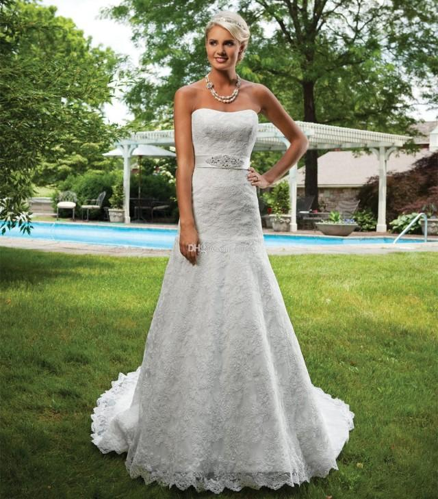 wedding photo - Lace Wedding Dresses Strapless A-line Beaded Bridal Dresses Chapel Train Empire Sleeveless Bridal Gowns with Beaded Ribbon Sash Online with $165.45/Piece on Gama's Store