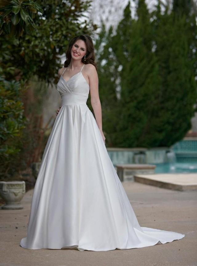wedding photo - Sexy V-neck Empire Waist Spaghetti Straps Invisible Zipper Satin A-line Wedding Dresses with Beadings Robe De Noces Online with $125.66/Piece on Gama's Store