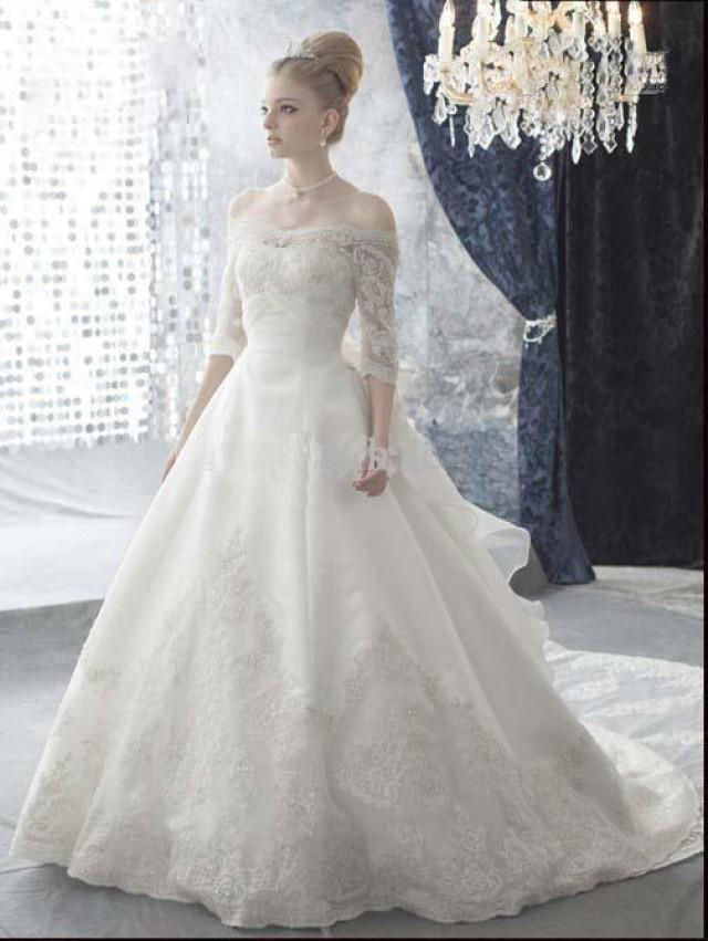 wedding photo - Bateau Half Sleeves Two Tiers Long Train Wedding Dresses with Huge Handmade Flower on the Back And Lace Online with $219.9/Piece on Gama's Store