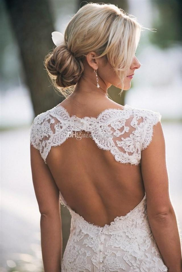 wedding photo - Glamourous Court Train V-neck with Shawl Backless Mermaid Lace Wedding Dress Plus Size Bridal Gowns Custom Made Online with $146.6/Piece on Gama's Store