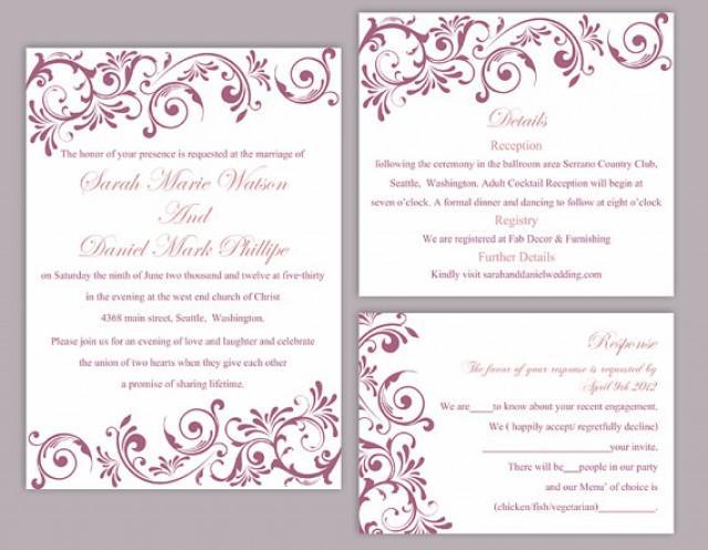 Diy wedding invitation template set editable word file instant download printable invitation for Instant download invitations