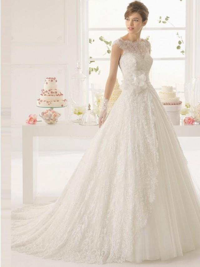 wedding photo - A-Linie/Princess-Linie Bateau-Ausschnitt Hof-schleppe Tüll Brautkleid