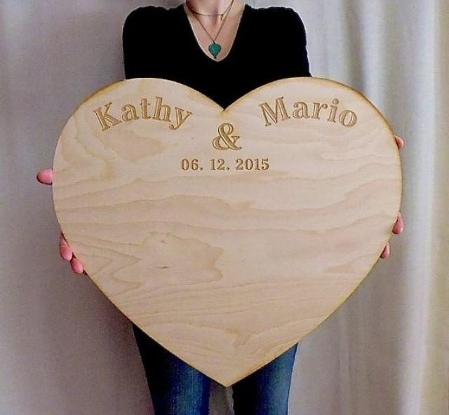 Wedding Guestbook Alternative Personalized Extra Large Wood Custom Engraved Board Unique Guest Book Rustic