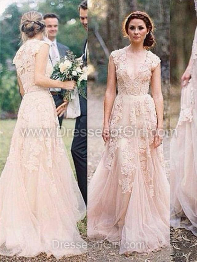 wedding photo - A-line V-neck Tulle Sweep Train Appliques Lace Wedding Dresses