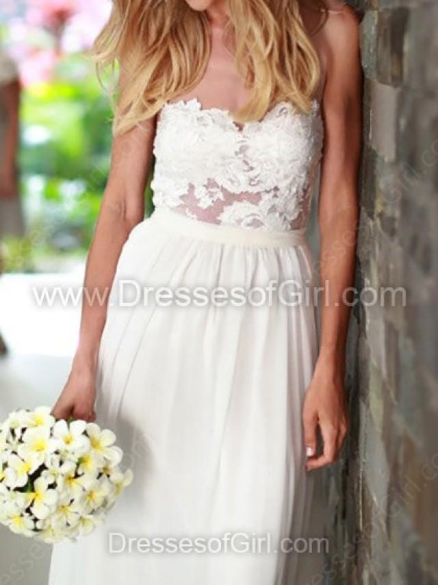 wedding photo - Sheath/Column Chiffon Floor-length Lace Wedding Dresses