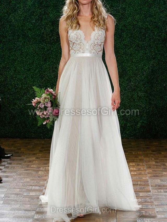 wedding photo - A-line Tulle Floor-length Lace Wedding Dresses