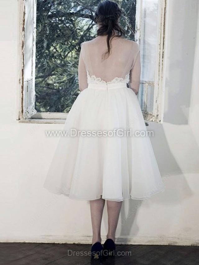 wedding photo - Ball Gown Scoop Neck Organza Tea-length Appliques Lace Wedding Dresses