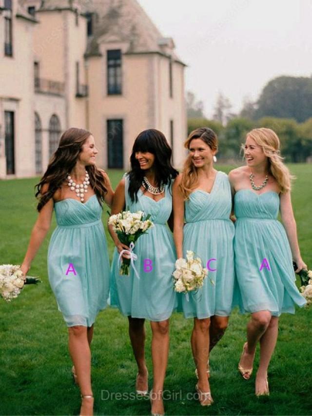 wedding photo - A-line Sweetheart Chiffon Short/Mini Pleats Bridesmaid Dresses