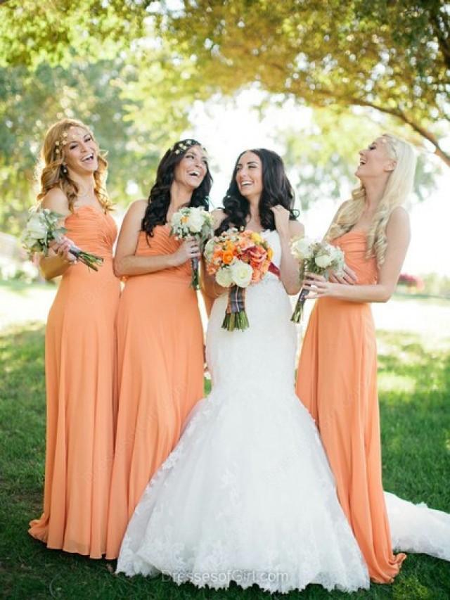 wedding photo - Sheath/Column Sweetheart Chiffon Floor-length Pleats Bridesmaid Dresses
