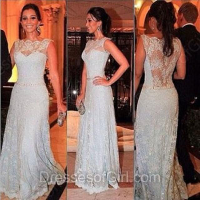 wedding photo - A-line Scalloped Neck Lace Floor-length Lace Prom Dresses