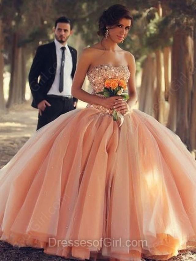 wedding photo - Ball Gown Sweetheart Tulle Floor-length Beading Prom Dresses
