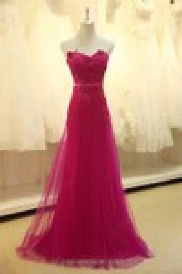 wedding photo - A-line Sweetheart Tulle Elastic Woven Satin Sweep Train Beading Prom Dresses