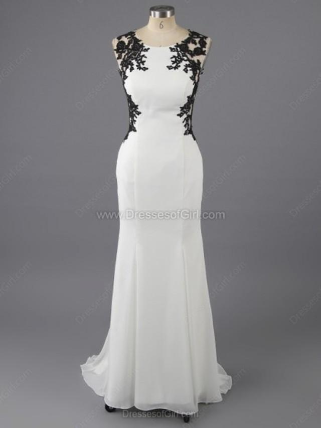 wedding photo - Sheath/Column Scoop Neck Tulle Silk-like Satin Ankle-length Appliques Lace Prom Dresses