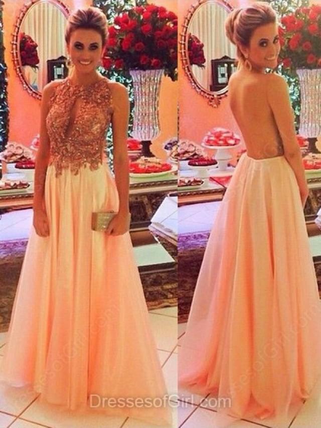 wedding photo - A-line Scoop Neck Tulle Floor-length Beading Prom Dresses