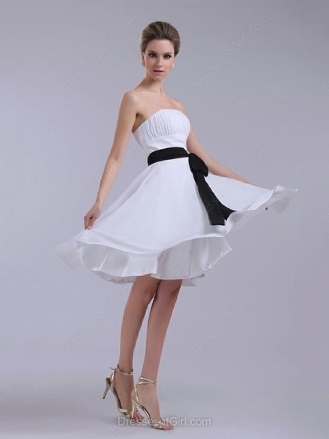 wedding photo - A-line Strapless Chiffon Knee-length Sashes/Ribbons Prom Dresses