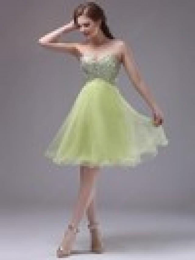 wedding photo - Empire Sweetheart Organza Knee-length Beading Prom Dresses