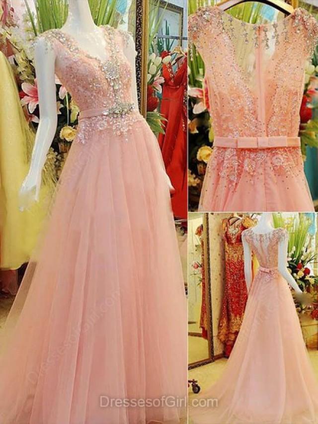 wedding photo - A-line V-neck Tulle Elastic Woven Satin Sweep Train Beading Prom Dresses