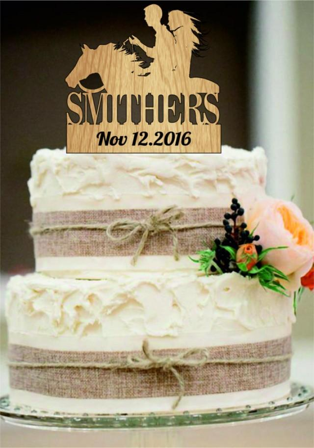 wedding photo - Custom Wedding Cake Topper with a horse silhouette, Rustic Wedding Cake Topper, Mr and Mrs Cake Topper, Country Cake Topper, Bride and Groom