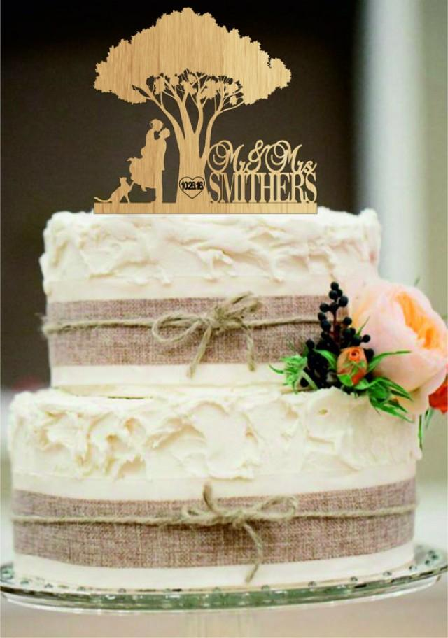 wedding photo - Rustic Wedding Cake Topper - Custom Wedding Cake Topper - Personalized Monogram Cake Topper - Mr and Mrs Cake Topper - Bride and Groom a cat
