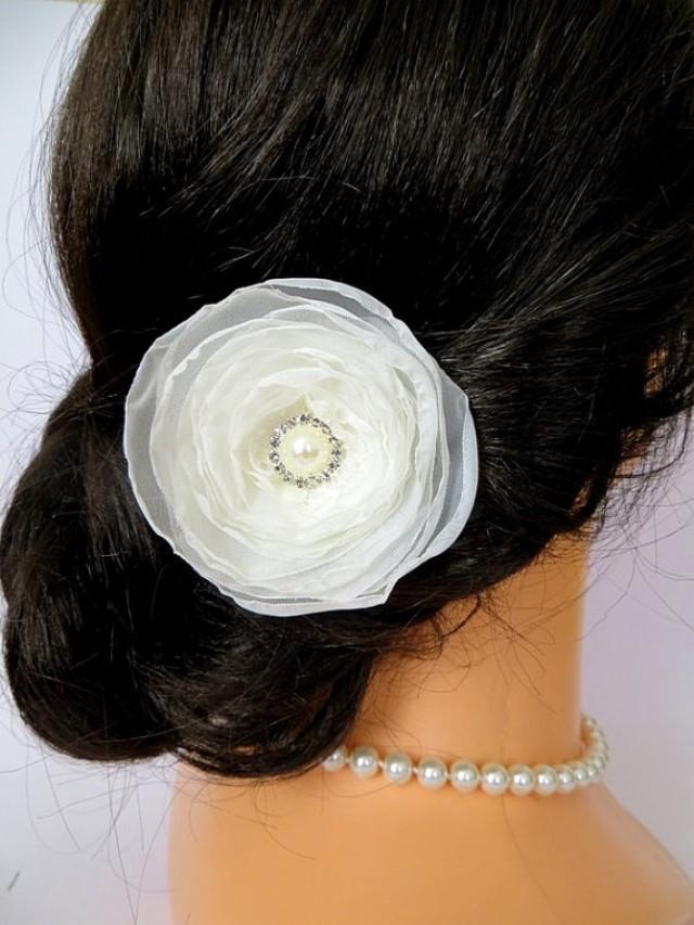 Bridal Ivory Flower Hair Accessories : Ivory bridal hair flower wedding headpiece