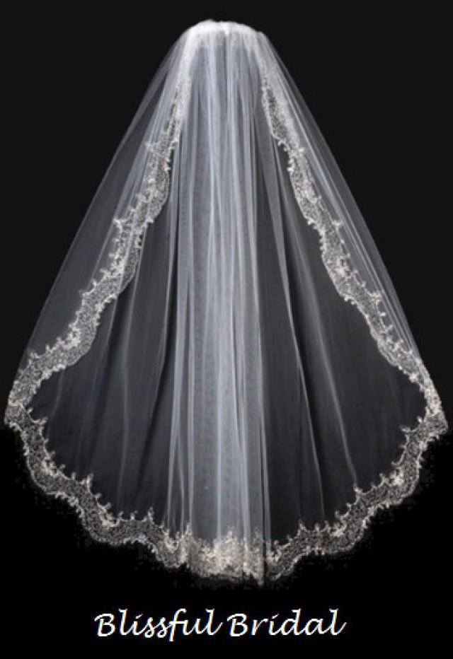 embroidered beaded edge wedding veil vintage wedding veil