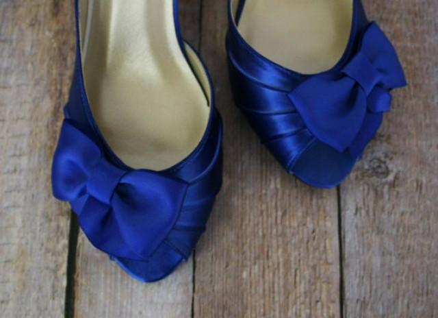 Blue Wedding Shoes -- Royal Blue Kitten Heel Peep Toe Wedding Shoes with  Off Center Matching Bow on the Toe