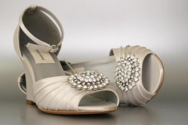 wedding shoes dark ivory wedding shoes peeptoe wedge shoes silver oval crystal cluster design your own wedding shoes 2372916 weddbook
