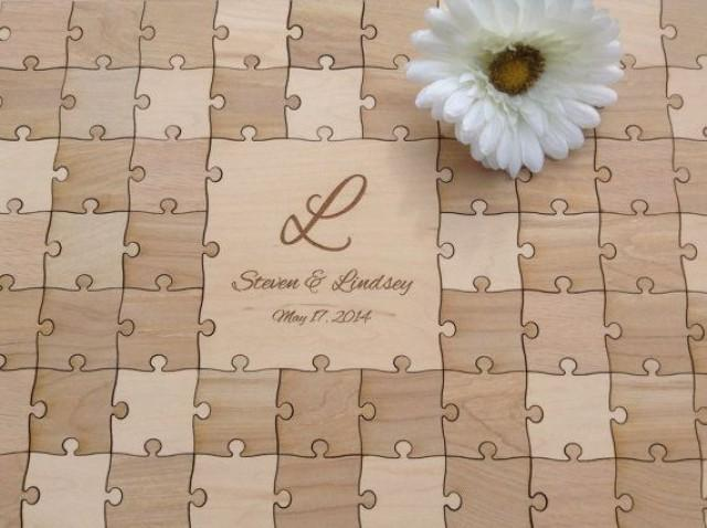 96 Pieces Rustic Wedding Guest Book Puzzle Alternative Mixed Grain 2372925 Weddbook