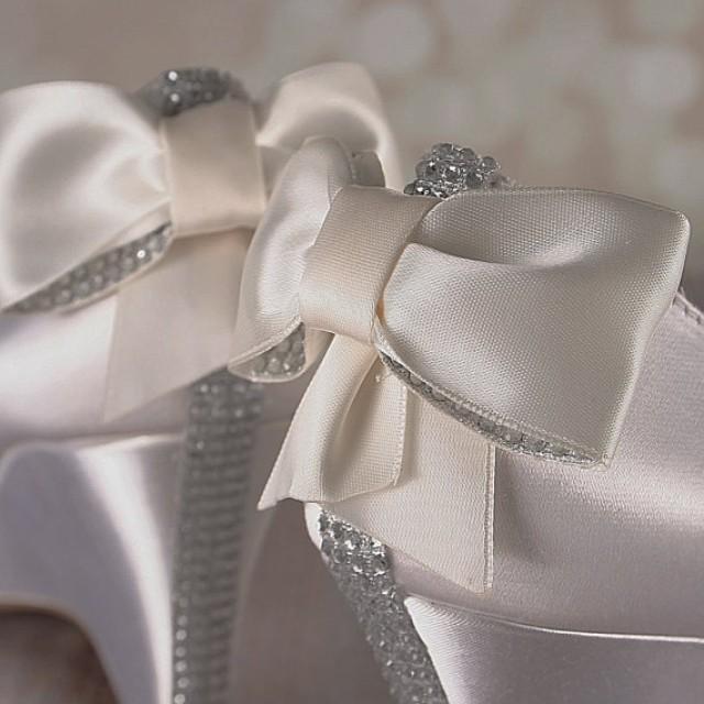Ivory Wedge Wedding Shoes Bridal Heels Wedge Bling Bow Crystal Heel 2373230