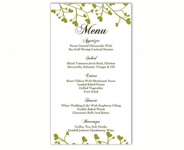 wedding menu template diy menu card template editable text word file instant download green menu