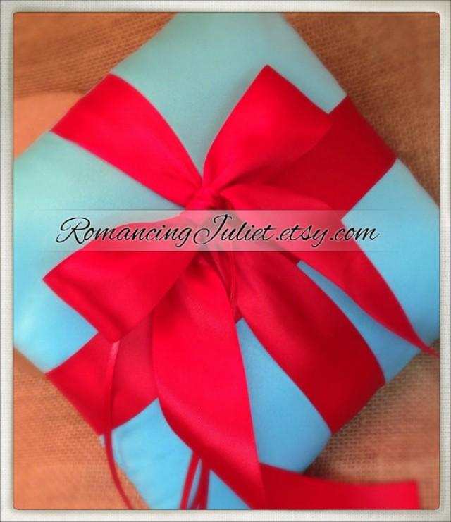 Red Satin Ring Bearer Pillow