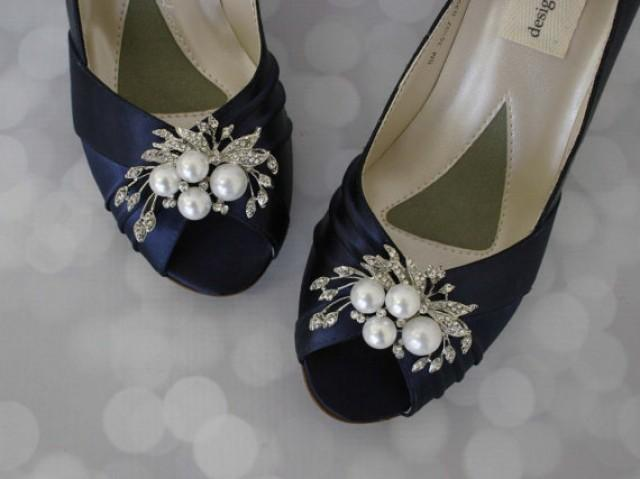 Navy Wedding Shoes Pearl Bridal Shoes Bride On Budget